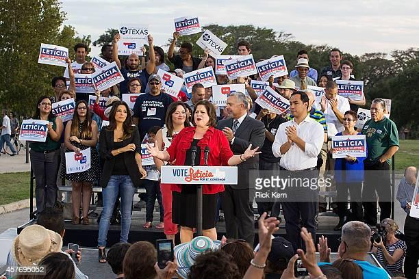 State Senator Leticia van de Putte candidate for Lieutenant Governor of Texas speaks as Eva Longoria actor director producer and activist student...