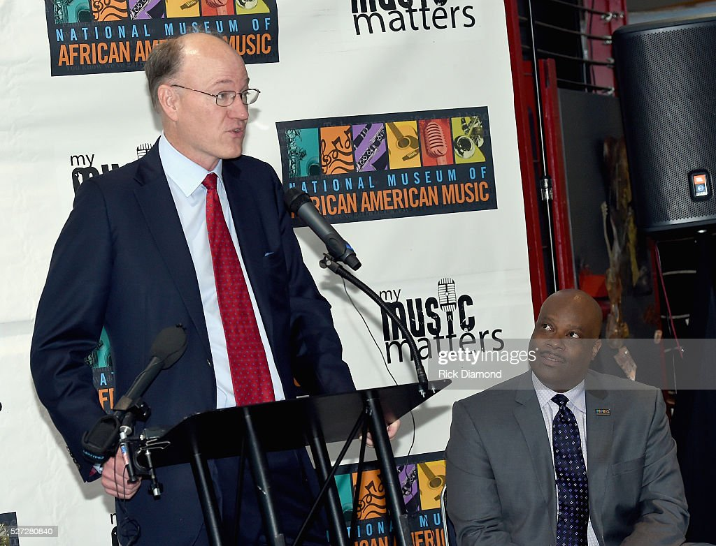 State Senator Steve Dickerson and H. Beecher Hicks III, NMAAM president and CEO attend NMAAM National Chairs And Fundraising Progress Press Conference at Nashville Vistor Center on May 2, 2016 in Nashville, Tennessee.
