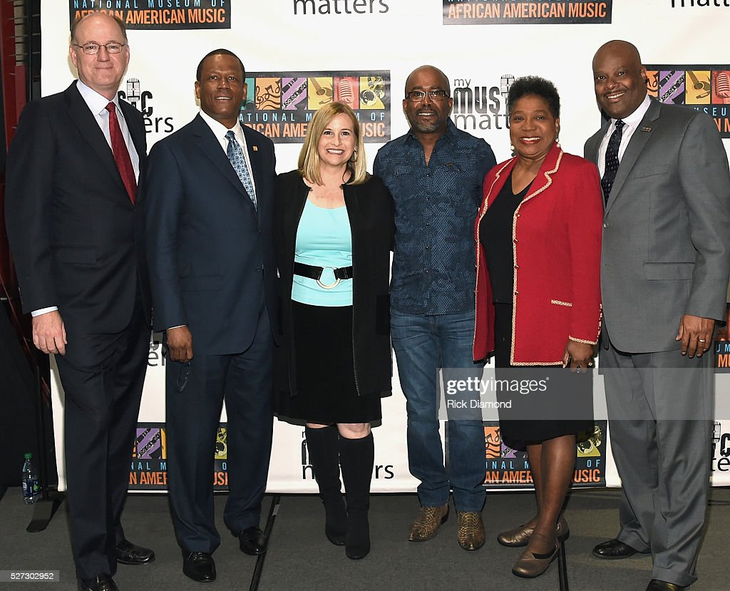State Senator Steve Dickerson, Kevin P. Lavender NMAAM Board/Fifth Third Bank, Nashville Mayor Megan Barry, Singer/Songwriter/NMAAM National Chairperson Darius Rucker, and H. Beecher Hicks III, NMAAM President/CEO attend NMAAM National Chairs And Fundraising Progress Press Confrence at Nashville Vistor Center on May 2, 2016 in Nashville, Tennessee.