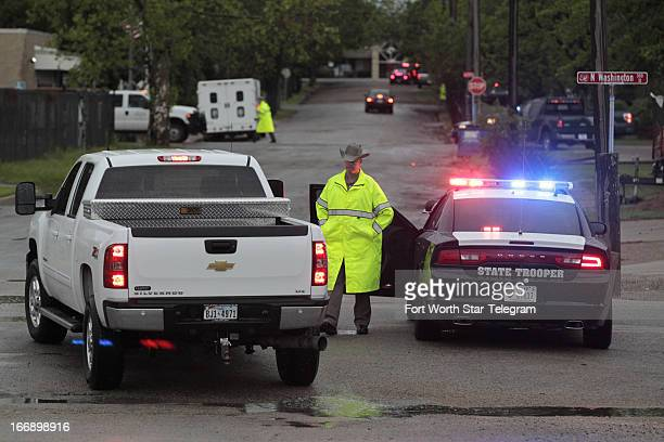A state trooper blocks traffic in West Texas on Thursday April 18 2013 Much of the small town suffered damage when a fertilizer plant caught fire...