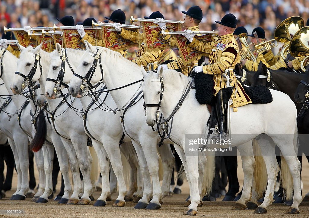 State Trumpeters perform in the Household Division's Beating Retreat, watched by Prince William, Duke of Cambridge on Horse Guards Parade on June 12, 2014 in London, England.