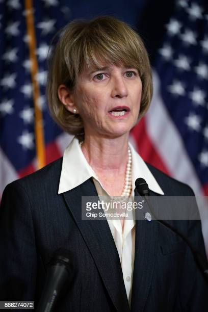 State University of New York Chancellor Kristina Johnson speaks during a news conference with Democrats from the House and Seante 'Dreamers' and...