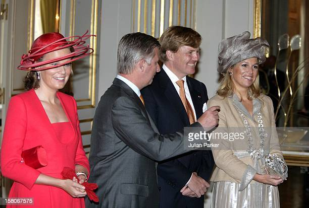 State Visit To Belgium Of Queen Beatrix Of The Netherlands Accompanied By Crown Prince WillemAlexander Crown Princess MaximaOfficial Photo At The...