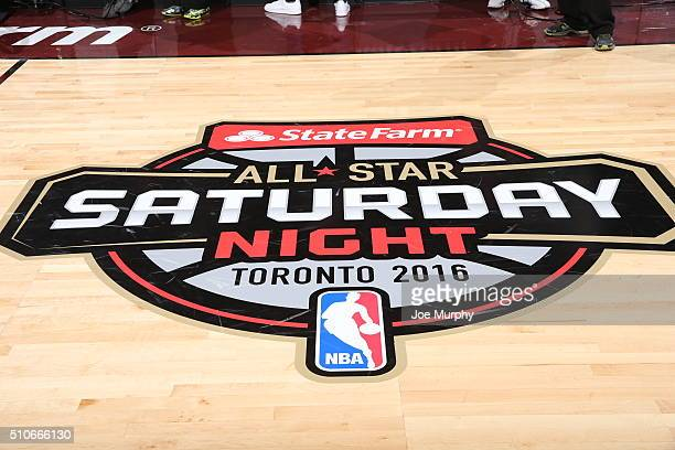 StateFarm AllStar Saturday Night logo during the Taco Bell Skills Challenge as part of NBA AllStar 2016 on February 13 2016 at Air Canada Centre in...