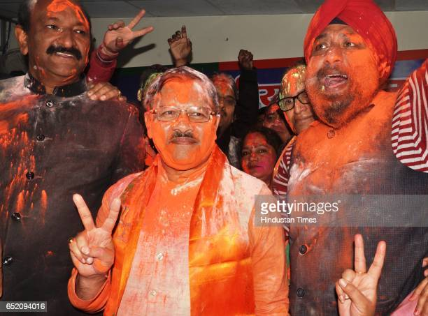 BJP stateincharge Shyam Jaju celebrating after landslide victory in Uttar Pradesh and Uttarakhand assembly elections at BJP office on March 11 2017...