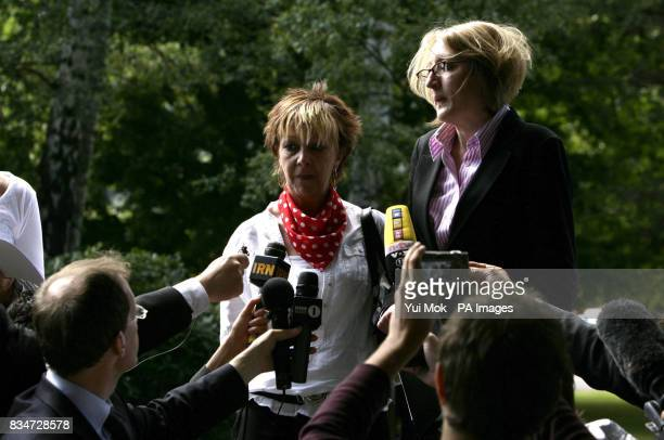 A statement is read out by Blake FielderCivil's solictior Kate Anderson right as his mother Georgette FielderCivil centre looks on at Snaresbrook...
