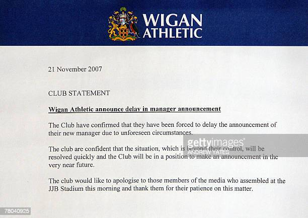 A statement issued by Wigan Athletic football club is pictured as Chief Executive Brenda Spencer announces a delay to the presentation of new manager...