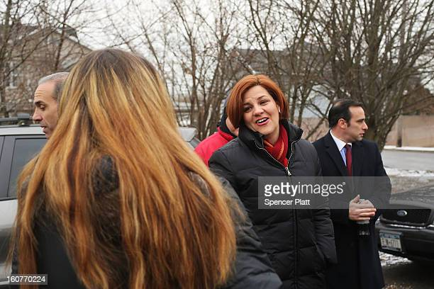 Staten Island residents and members of an Oakwood Beach homeowners association speak with City Council Speaker Christine Quinn in their heavily flood...
