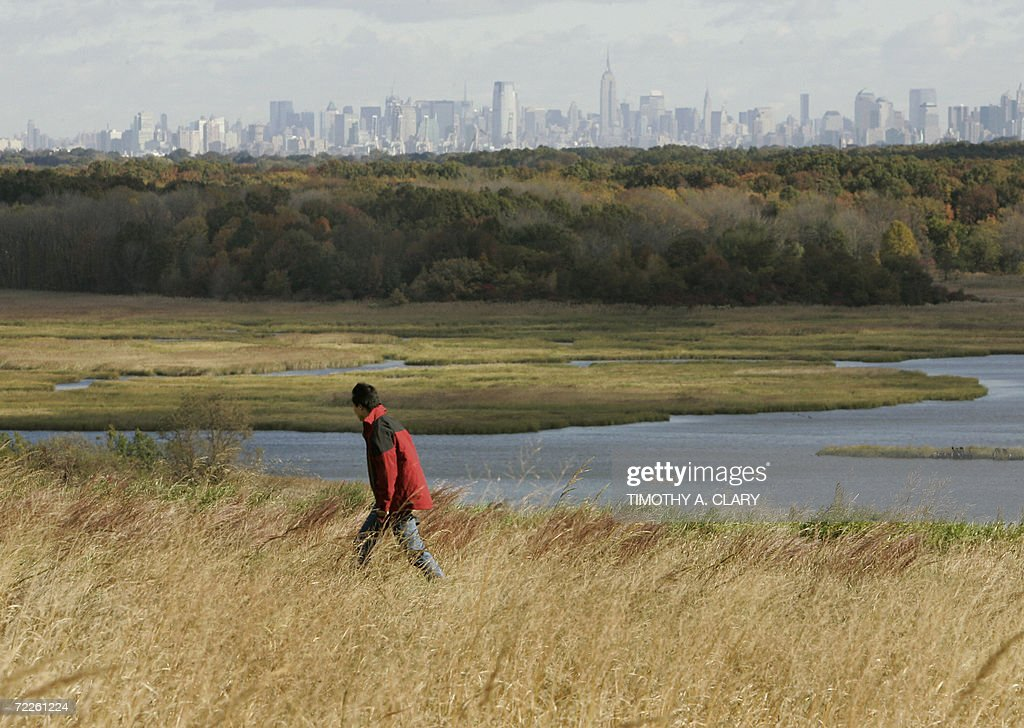 A member of the press gets a tour of what will be New York's new park land at Fresh Kills landfill in Staten Island New York 25 October 2006 The...