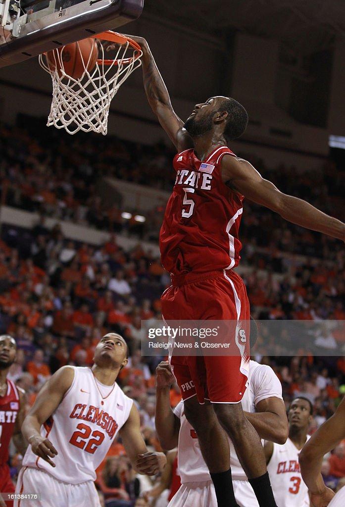 N.C. State's C.J. Leslie (5) slam dunks for two points against Clemson during the first half at Littlejohn Coliseum in Clemson, South Carolina, Sunday, February 10, 2013.