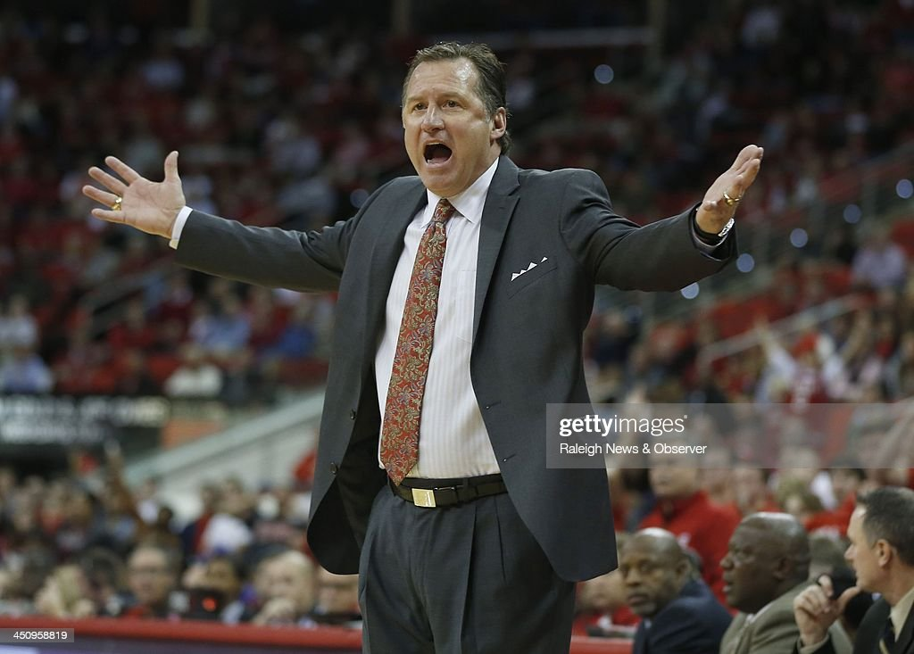 N.C. State's Mark Gottfried can't believe a foul is not called during the second half of a college basketball game against North Carolina Central at PNC Arena in Raleigh, N.C., on Wednesday, Nov. 20, 2013. The Eagles defeated the Wolfpack, 82-72 in overtime.