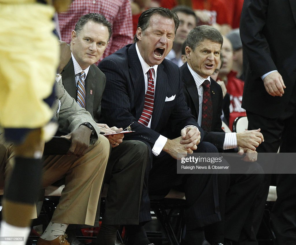 N.C. State's Mark Gottfried reacts to a foul call against the Wolfpack during the first half of a men's college basketball game at PNC Arena on Wednesday, January 9, 2013, in Raleigh, North Carolina.