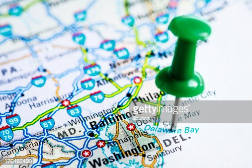 Us Capital Cities On Map Series Dover Delaware De Stock Photo - Delaware map usa