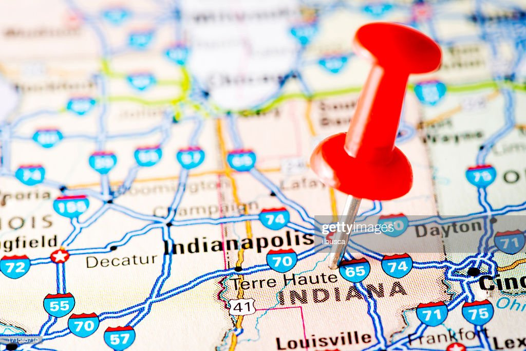 Usa States On Map Indiana Stock Photo Getty Images - Usa map indiana