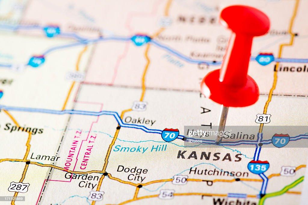 Usa States On Map Kansas Stock Photo Getty Images - Usa map kansas