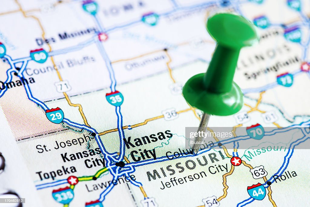 Usa States On Map Missouri Stock Photo Getty Images - Map of usa missouri