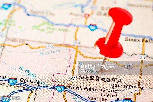 Us Capital Cities On Map Series Lincoln Nebraska Ne Stock Photo - Usa map nebraska