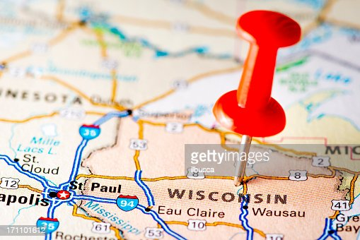 Us Cities On Map Series Milwaukee Wisconsin Stock Photo Getty Images - Usa map wisconsin