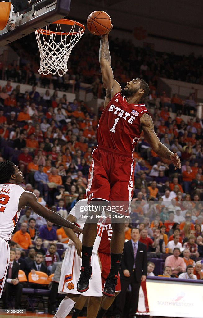 N.C. State's Richard Howell (1) slam dunks for two points during the second half against Clemson at Littlejohn Coliseum in Clemson, South Carolina, Sunday, February 10, 2013. N.C. State won, 58-57.