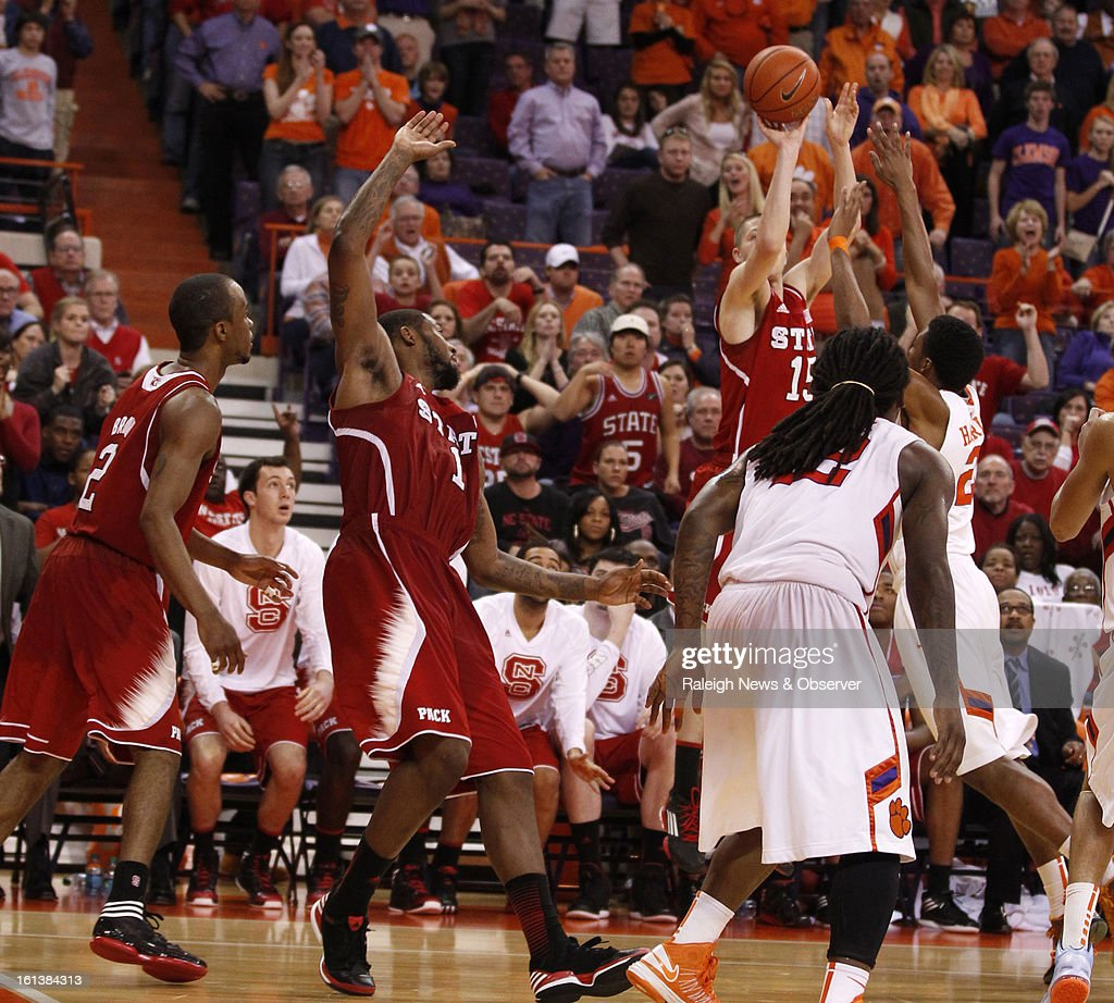 N.C. State's Scott Wood (15) hits the game-winning 3-pointer with a second left in the game against Clemson at Littlejohn Coliseum in Clemson, South Carolina, Sunday, February 10, 2013. N.C. State won, 58-57.