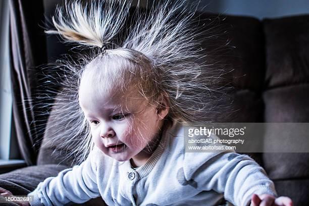 Static hair little girl