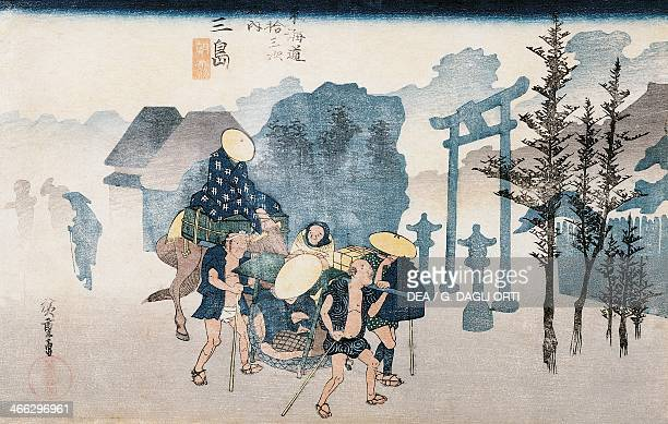 Station number 12 Mishima 18331834 ukiyoe art print by Utagawa Hiroshige from The 53 Stations of the Tokaido Road Chutanzaku woodcut Japanese...