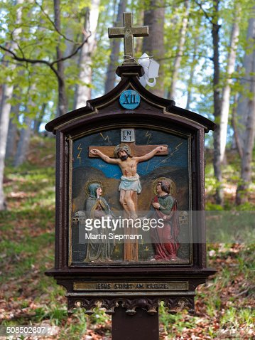 Station on a way of the cross on Riederstein mountain, station XII, Jesus dies on the cross, Mangfall Mountains, Tegernsee valley, Upper Bavaria, Bavaria, Germany, Europe