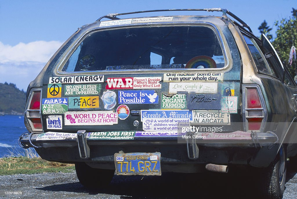 Station wagon with bumper stickers
