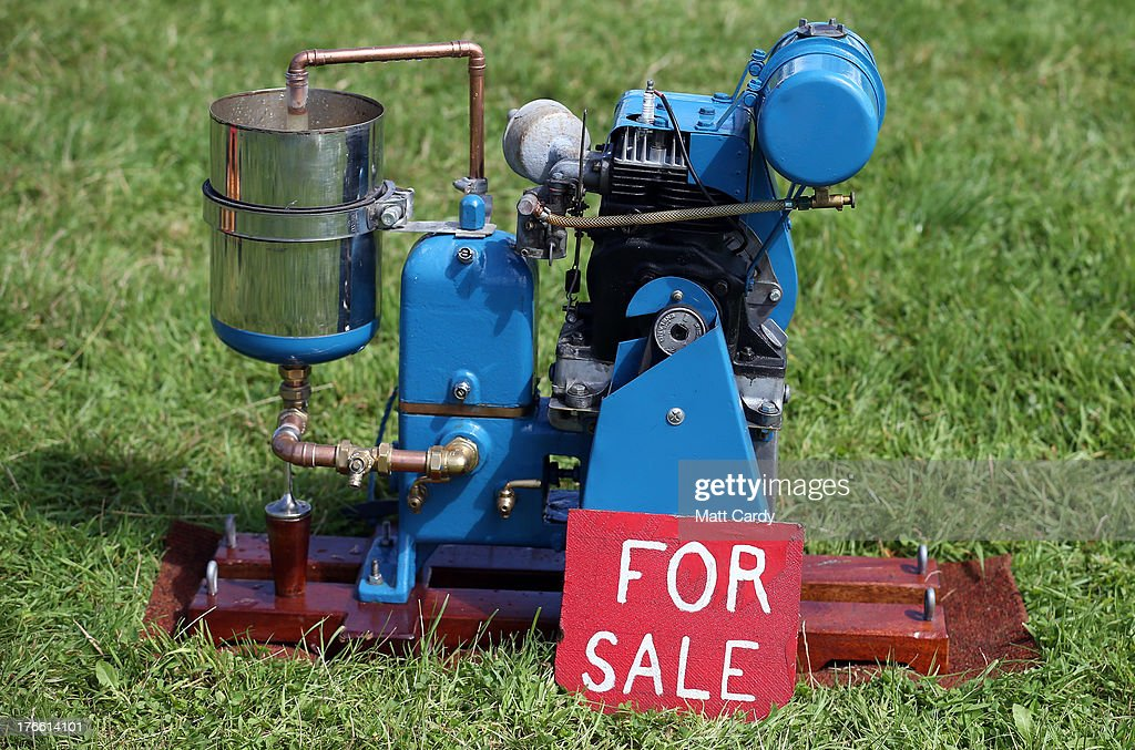 A stationary engine that is for sale is shown at the Cornish Steam and Country Fair at the Stithians Showground on August 16, 2013 near Penryn, England. The annual show, now in 58th year, is one of Cornwall's largest outdoor events and is one of the UK's most popular and respected steam rallies.