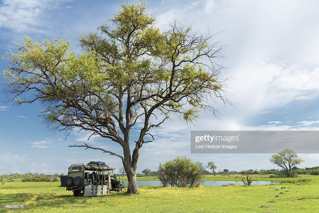 Stationary safari truck, Okavango Delta, Chobe National Park, Botswana, Africa