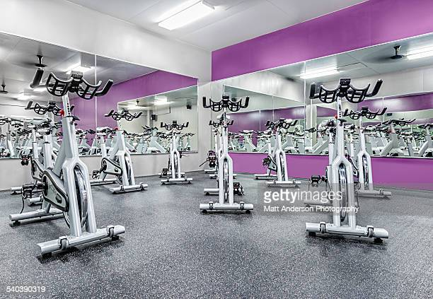 Stationary Spinning Exercise Bikes at a Gym