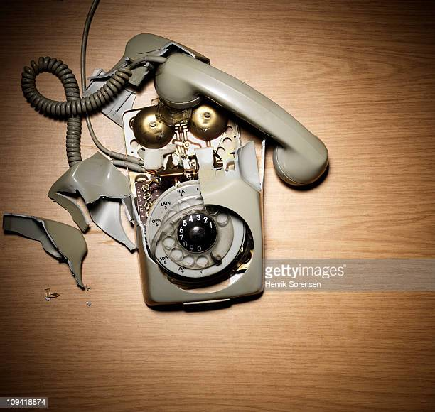 Stationary telephone smashed to pieces
