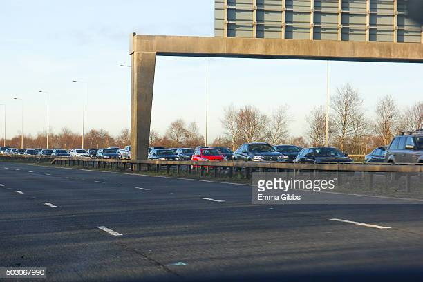 Stationary traffic on the M6 motorway