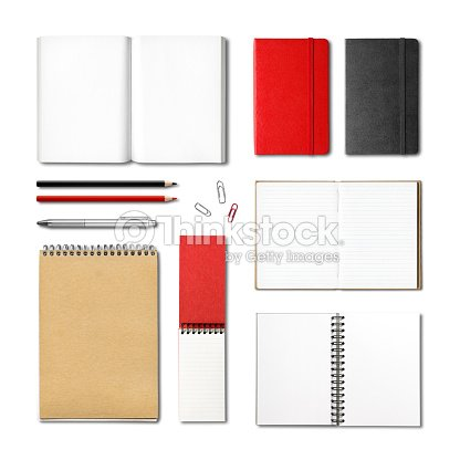 stationery books and notebooks mockup template : Stock Photo