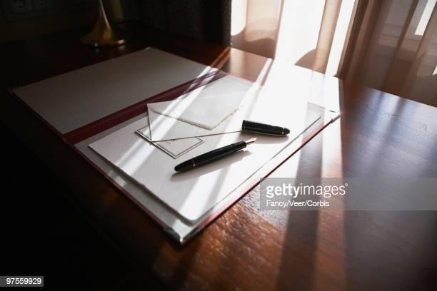 Stationery on desk