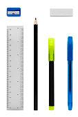 Stationery set including ruler, pencil sharpener