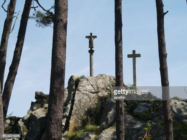 Stations of de cross on the rocks of the town of Baiona. Pontevedra