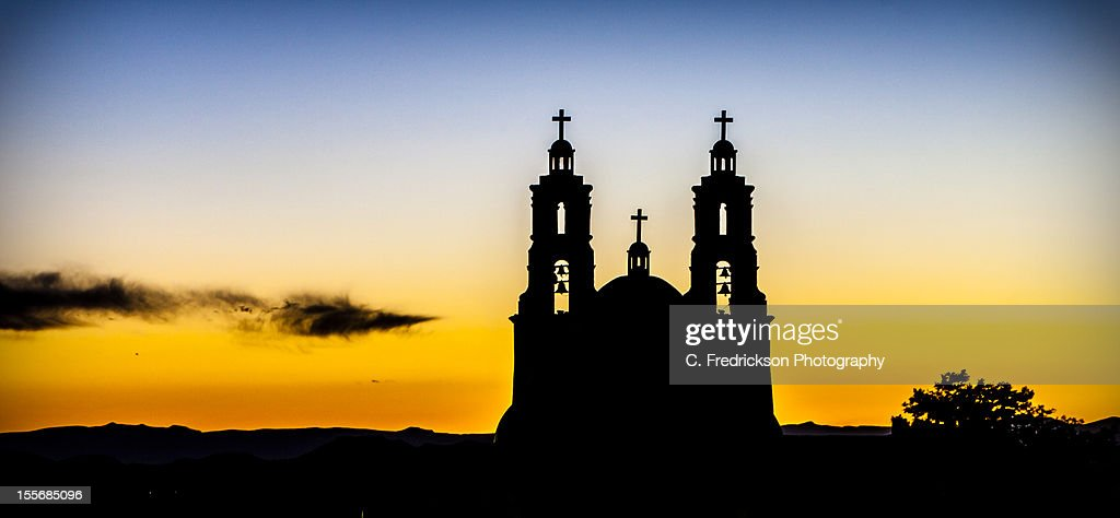 Stations of the Cross in silhouette : Stock Photo