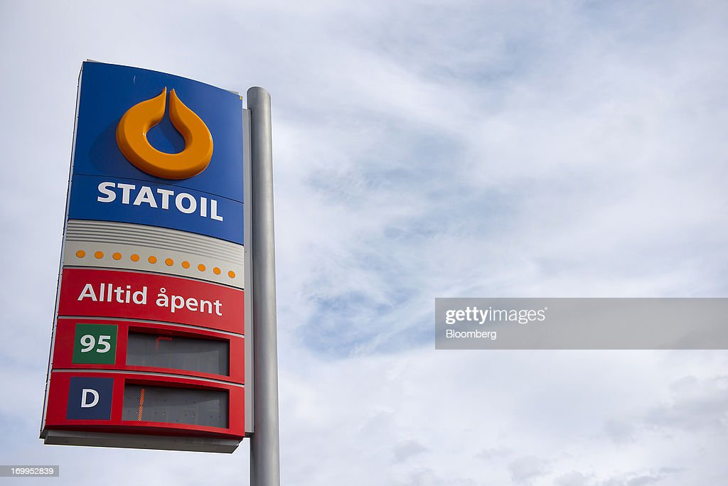 A Statoil company logo stands on display on the forecourt of a gas station operated by Statoil ASA in Oslo Norway on Tuesday June 4 2013 Royal Dutch...