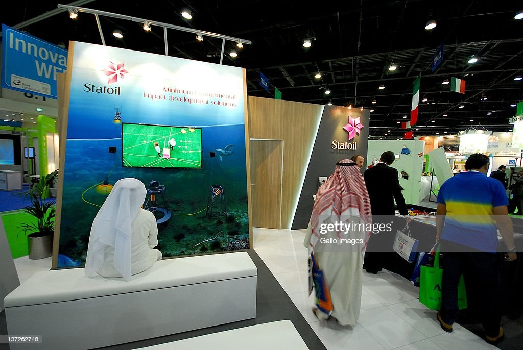 Statoil Display booth during the 2012 World Future Energy Summit Day One held at the Abu Dhabi National Exhibition Centre on January 16 2012 in Abu...
