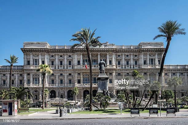 A statue adorns the front of the 'Corte di Cassazione' during the final session to judge former Italian Prime Minister Silvio Berlusconi on July 31...