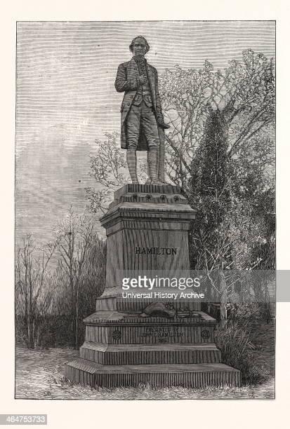 Statue Alexander Hamilton Central Park US USA America United States American Engraving 1880