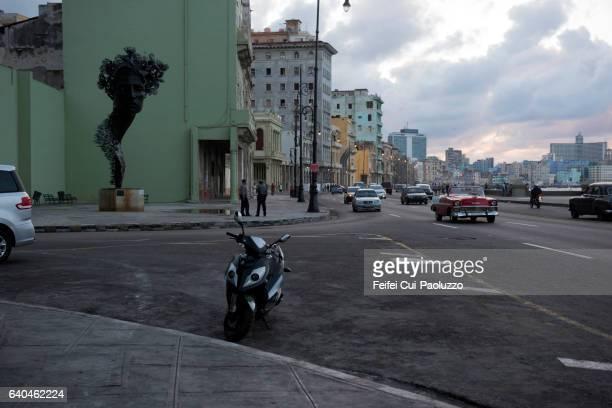 Statue at street of Malecon Havana in Cuba