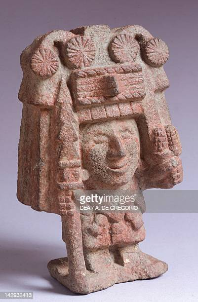 Statue depicting Chicomecoatl goddess of the corn Artifact originating from the Mayor's Temple of Tenochtitlan Aztec Civilization 15th Century Mexico...