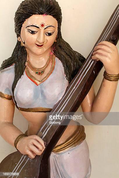 Statue depicting goddess Saraswati in a Rishikesh temple