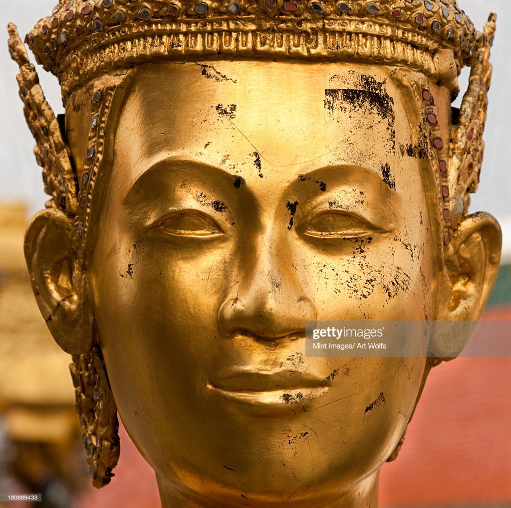 Statue face at the Grand Palace, Bangkok, Thailand : Stock Photo