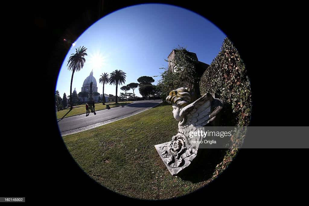 A statue facing St. Peter's Basilica is seen inside the Vatican Gardens on February 19, 2013 in Vatican City, Vatican. When Pope Benedict XVI steps down, after almost eight years as the 265th Pope, on February 28, 2013 it is reported that he will live in the Vatican Gardens.