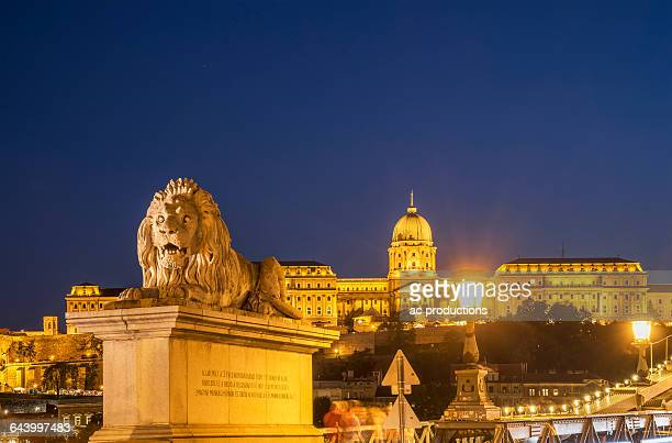 Statue in cityscape, Budapest, Hungary