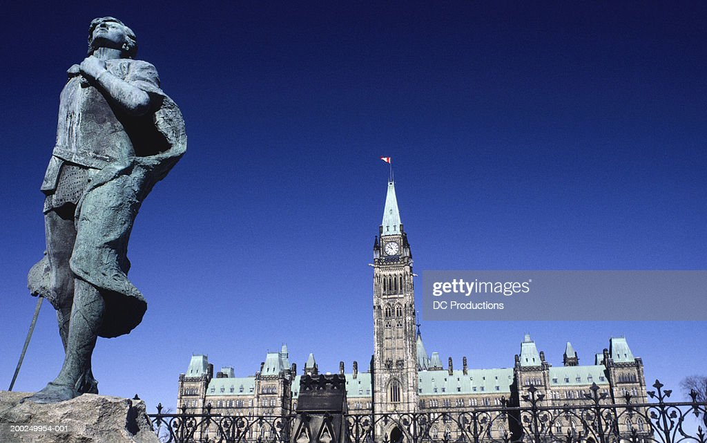 Statue in front of Parliament, Ottawa, Canada : Stock Photo