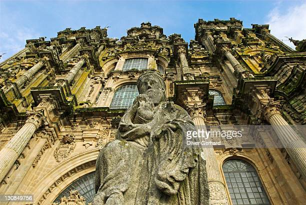 Statue in front of the cathedral of Santiago de Compostela, Galicia, Spain, Europe